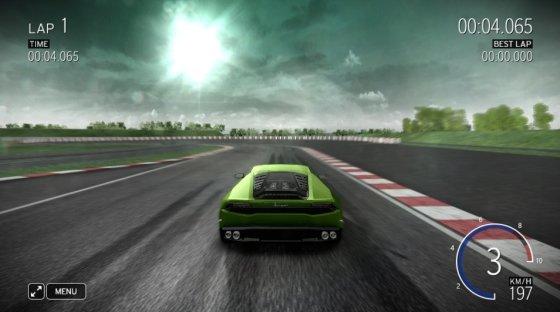 """Žaidimo stop kadras/""""Lamborghini Huracan"""" virtualioje trasoje"""