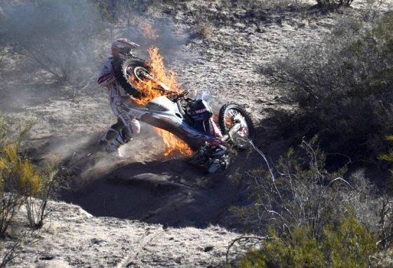 Sudegė P.Goncalves motociklas