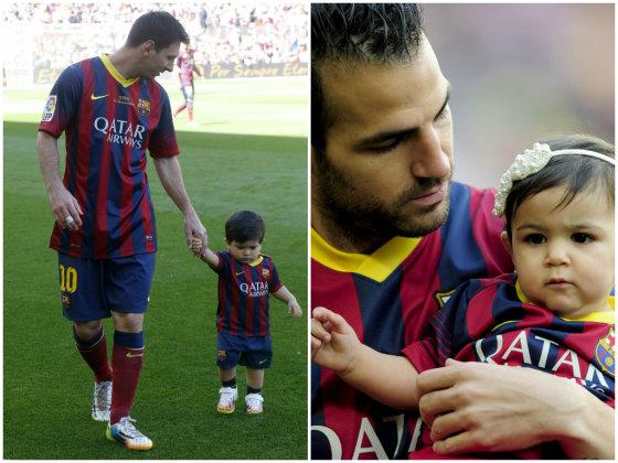 """""""Scanpix"""" nuotr./Lionelis Messi (kairėje) ir Cescas Fabregasas su savo vaikais."""