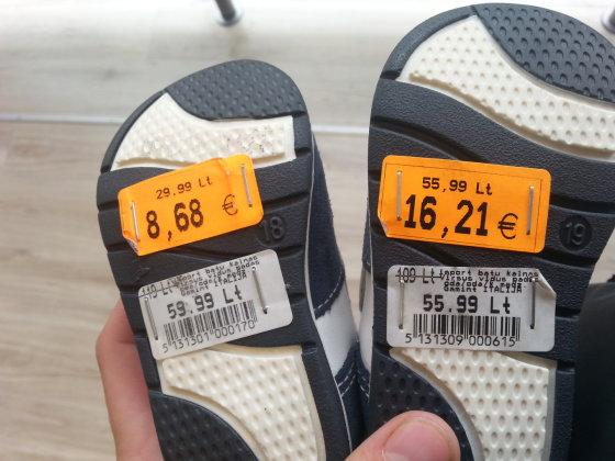 """""""Batų kalnas"""" taip pereina prie euro: atspėkite tikrąją kainą"""