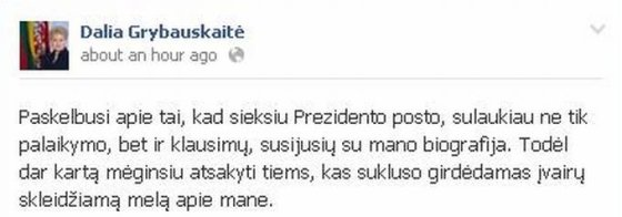 """Facebook"" nuotr. /D.Grybauskaitės puslapis ""Facebook"""