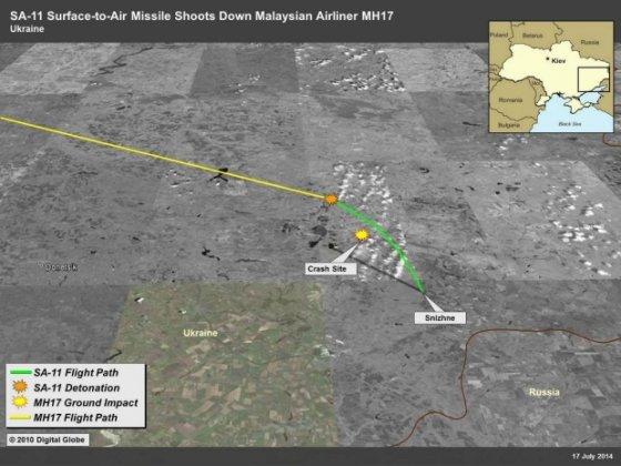 """""""Facebook"""" nuotr./JAV ambasada Ukrainoje paskelbė žemėlapį, kuriame pavaizduota """"Buk"""" komplekso raketos """"žemė-oras"""", kuri numušė Malaizijos lėktuvą Ukrainoje, judėjimo trajektorija."""