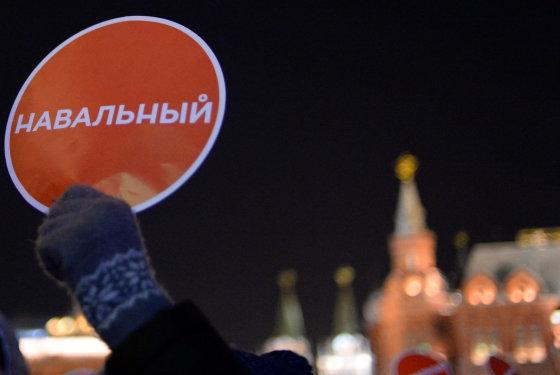 """""""Scanpix""""/""""Sipa USA"""" nuotr./Aleksejaus Navalno rėmėjų mitingas Maskvoje"""