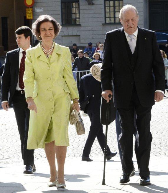 """AFP/""""Scanpix"""" nuotr./Ispanijos karalienė Sofia ir karalius Juanas Carlosas"""