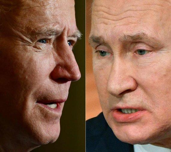 """AFP/""""Scanpix"""" nuotr./Joe Bidenas ir Vladimiras Putinas"""