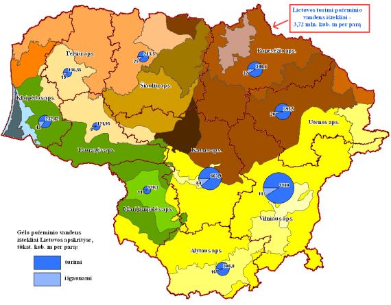 Aplinkos ministerijos žemėlapis/Vandens ištekliai