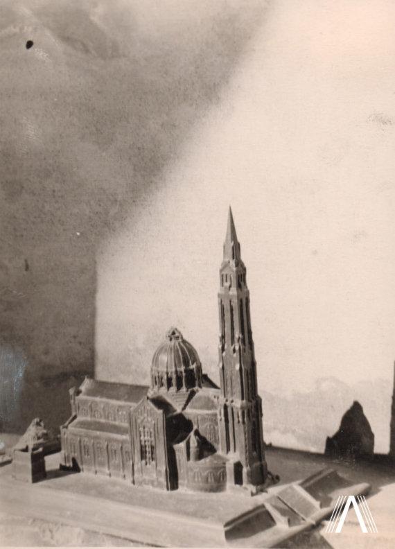 archivesofculture.com nuotr./Švč. Jėzaus Širdies bažnyčia (A. Vivulskio maketas) 1919 m. nuotrauka
