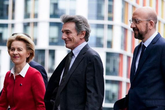 """AFP/""""Scanpix"""" nuotr./Ursula von der Leyen, Davidas Sassoli, Charles'is Michelis"""