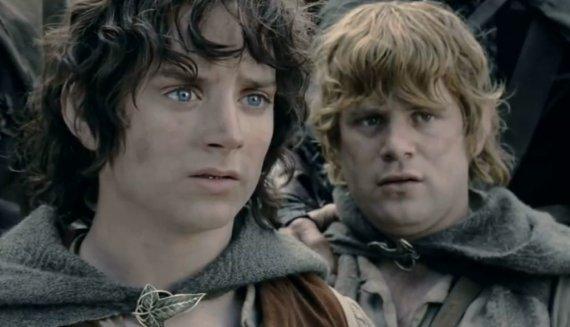 """Kadras iš filmo/Filmo """"Žiedų valdovas"""" herojai Frodas ir Semas (dešinėje)"""