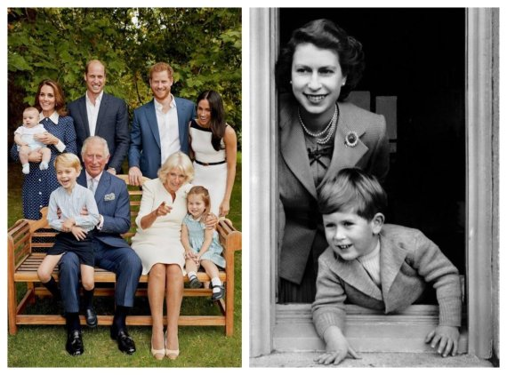 Chris Jackson and Scanpix / Prince Charles now and in childhood with their mother, Queen Elizabeth II (1952)
