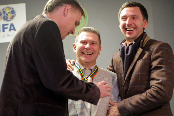 V.Knyzelio/LFF.lt nuotr./Edgaras Jankauskas, Arminas Narbekovas ir Deividas Šemberas