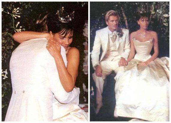 """Instagram"" nuotr./Victoria ir Davidas Beckhamai per savo vestuves 1999 metais"