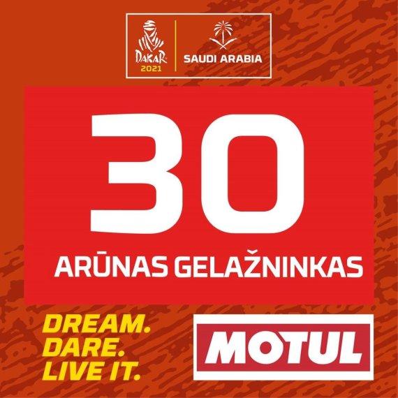 Arūno Gelažninko numeris 2021 m. Dakaro ralyje
