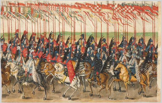Varšuvos karališkosios pilies muziejaus nuotr./Karališkieji husarai ATR karaliaus Zigmanto Vazos vestuvių procesijoje, 1605 m.