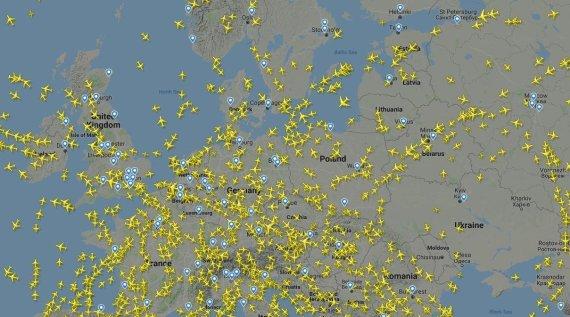 flightradar24.com iliustr./Skrydžiai Europoje