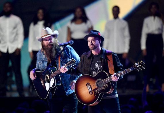 """""""Scanpix""""/""""PA Wire""""/""""Press Association Images"""" nuotr./Justinas Timberlake'as ir Chrisas Stapletonas"""