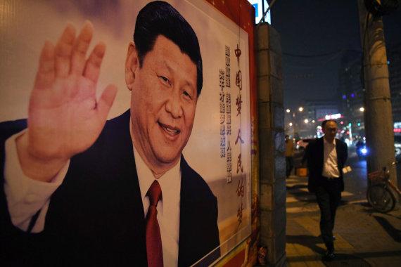 """AFP/""""Scanpix"""" nuotr./Xi Jinpingo plakatas"""