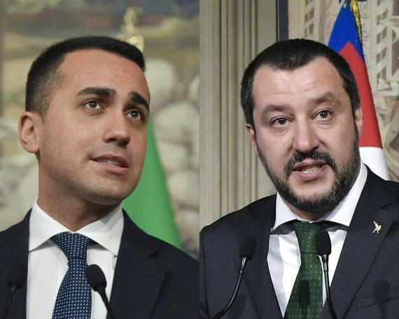 """AFP/""""Scanpix"""" nuotr./Luigi Di Maio (kairėje) ir Matteo Salvini"""