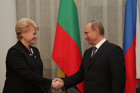 LR Prezidento kanceliarijos/Dž.G.Barysaitės nuotr./Dalios Grybauskaitės ir Vladimiro Putino susitikimas 2010 metais
