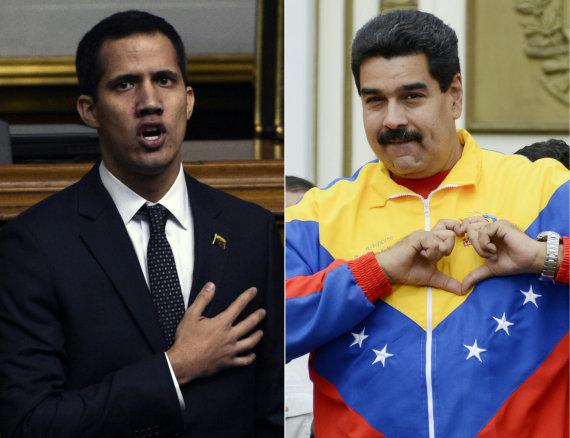 """AFP/""""Scanpix"""" nuotr./Juanas Guaido, Nicolas Maduro"""