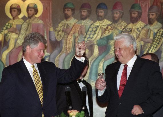 """""""Scanpix""""/AP nuotr./Billas Clintonas ir Borisas Jelcinas 1995 metais"""