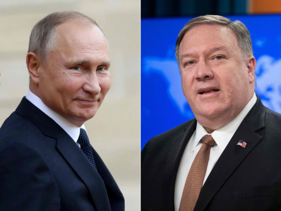 "AFP/""Scanpix"" nuotr./Vladimiras Putinas ir Mike'as Pompeo"