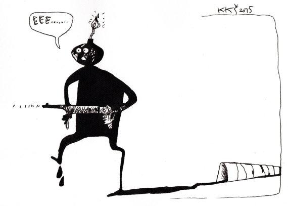 """K.K.Šiaulyčio karikatūra/""""Terorizmo prigimtis"""""""