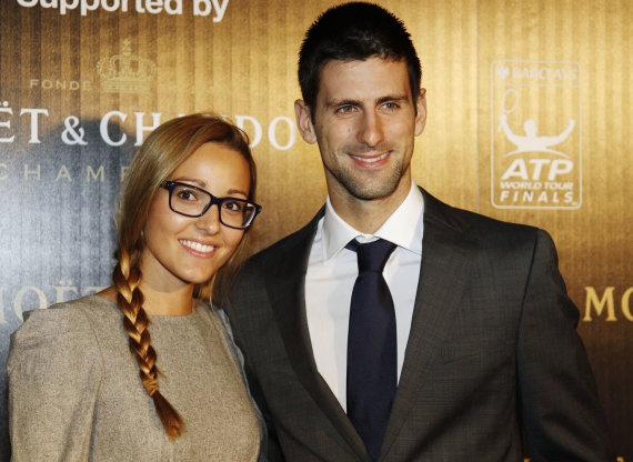 """""""Reuters""""/""""Scanpix"""" nuotr./Jelena Ristič ir Novakas Džokovičius"""