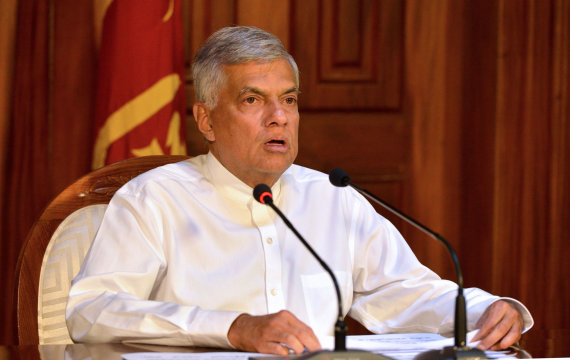 "AFP/""Scanpix"" nuotr./Šri Lankos premjeras Ranilas Wickremesinghe"