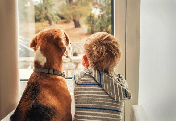 123RF.com nuotr./Vaikas su šunimi.
