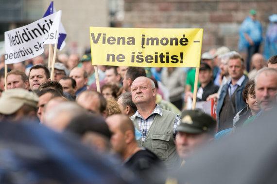 Žygimanto Gedvilos / 15min nuotr./Miškininkų ir urėdų piketas prie Seimo