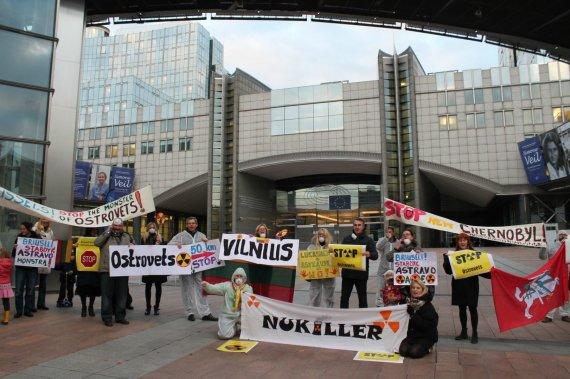 I.Sinkevičiūtės nuotr./Protestas prieš Astravo AE Briuselyje