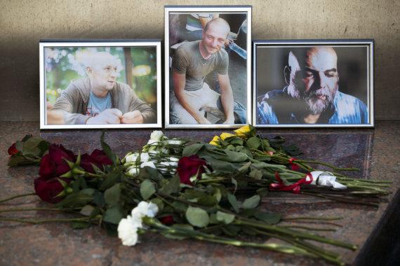 """""""Scanpix""""/AP nuotr./CAR nužudytų rusų žurnalistų pagerbimas"""