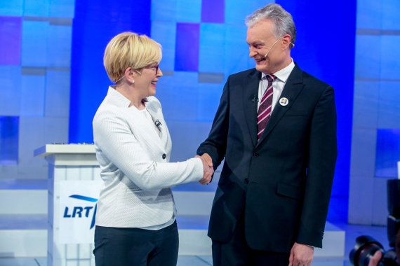 Vidmanto Balkūno / 15min nuotr./LRT debatai. Ingrida Šimonytė ir Gitanas Nausėda.