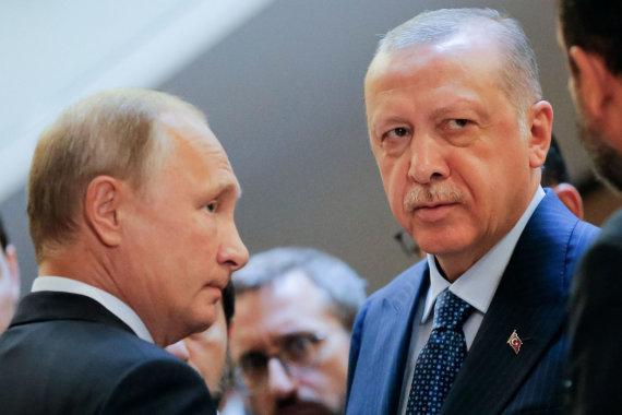 """AFP/""""Scanpix"""" nuotr./Vladimiras Putinas ir Recepas Tayyipas Erdoganas"""