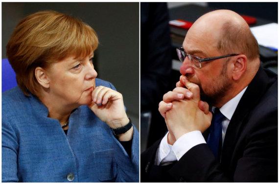 """""""Reuters""""/""""Scanpix"""" nuotr./Angela Merkel ir Martinas Schulzas"""