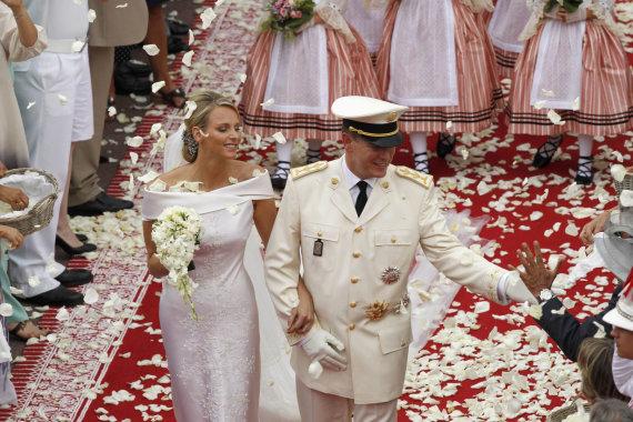 """""""Reuters""""/""""Scanpix"""" nuotr./Monako princesė Charlene ir princas Albertas II (2011 m.)"""