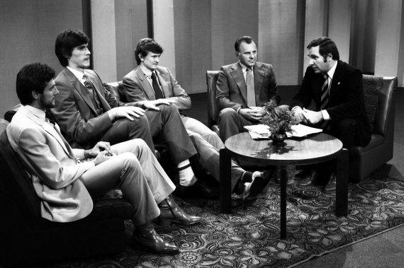 Alfredo Pliadžio nuotr./1982 11 27 Stanislovas Stonkus, Arvydas Sabonis, Valdemaras Chomičius, Sergejus Jovaiša, Valdas Janiūnas