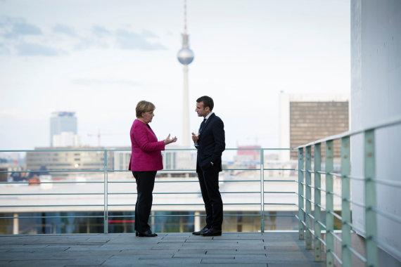 """""""Reuters""""/""""Scanpix"""" nuotr./Angela Merkel ir Emmanuelis Macronas"""