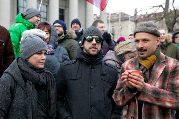 Juliaus Kalinsko / 15min nuotr./Žygimantas Stakėnas su žmona Dovile, Jurgis Didžiulis