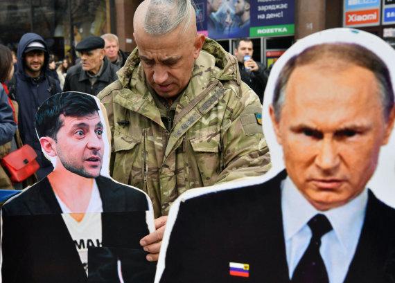 "AFP/""Scanpix"" nuotr./Volodymyras Zelenskis, Vladimiras Putinas,"