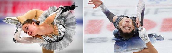 """""""Reuters""""/""""Scanpix"""" nuotr./Alina Zagitova ir Jevgenija Medvedeva pirmą kartą stojo akis į akį"""