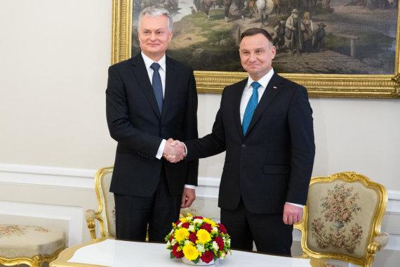 Juliaus Kalinsko / 15min nuotr./Gitano Nausėdos susitikimas su Andrzejumi Duda