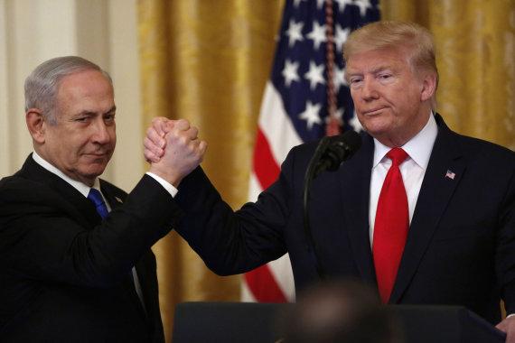 """""""Scanpix""""/""""SIPA"""" nuotr./Benjaminas Netanyahu, Donaldas Trumpas"""