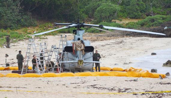 """""""Scanpix""""/AP nuotr./JAV karinis sraigtasparnis Okinavoje"""