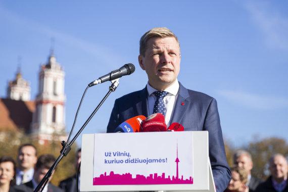 Luko Balandžio / 15min nuotr./Remigijus Šimašius pristatė savo sprendimą antrą kartą kandidatuoti į Vilniaus mero postą