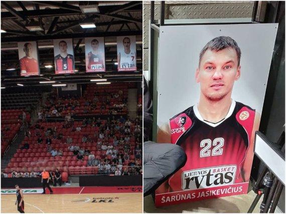 """nuotr. 15min ir """"Baudos aikštelė""""/""""Jeep"""" arenoje nukabinta Šarūno Jasikevičiaus nuotrauka"""