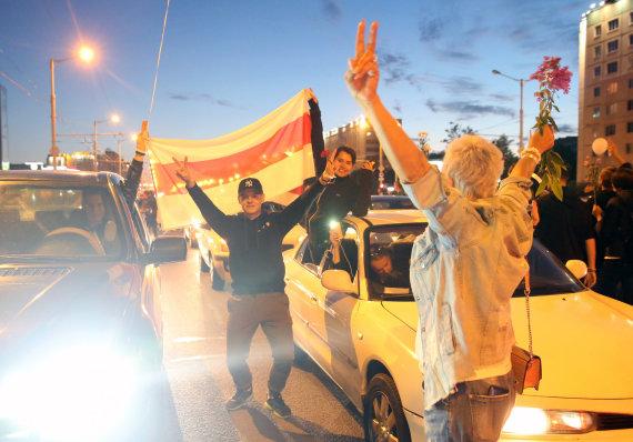 """""""Scanpix""""/ITAR-TASS nuotr./Protestuotojai Minske"""