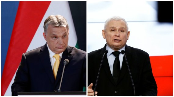 """""""Reuters""""/""""Scanpix"""" nuotr./Vengrijos premjeras Viktoras Orbanas ir Lenkijos valdančiųjų lyderis Jaroslawas Kaczynskis"""