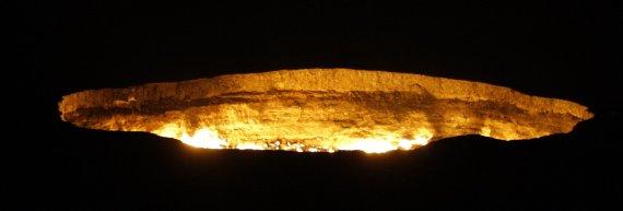 Živilės Necejauskaitės nuotr./Darvaza krateris naktį